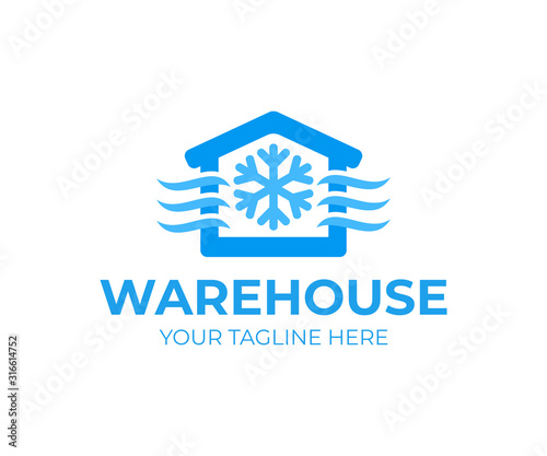 Freezing cold room warehouse refrigerated and cold storage, logo design. Refrigerated warehouse for food and automated cold room warehouse, vector design and illustration Wall mural