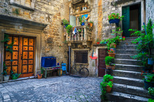 Rustic Street View With Stone ...