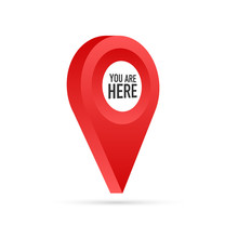 Red You Are Here Location Pointer Pin. Vector Stock Illustration