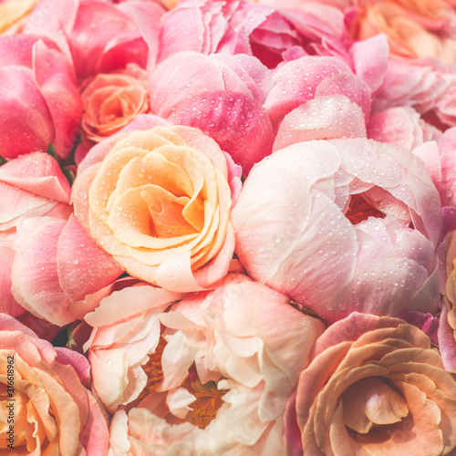 Fresh bunch of pink peonies and roses. Toned image, card Concept, pastel colors © manuta