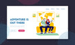 Planning and Buying Trip Website Landing Page. Young Couple Visiting Travel Agency Choose Tour. Man and Woman Sitting on Couch Waiting Web Page Banner. Cartoon Flat Vector Illustration, Line Art