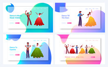 Brazilian Artists Performance Website Landing Page Set. Virtuoso Music Players And Traditional Dancers Performing During Rio Carnival In Brazil Web Page Banner. Cartoon Flat Vector Illustration