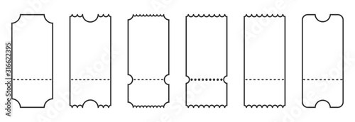 Fotomural Set of linear ticket templates. Blank tickets