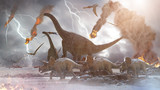 concept destruction of dinosaurs by a falling   meteorite, 3d render