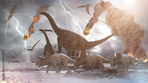 Fotografie, Tablou concept destruction of dinosaurs by a falling   meteorite, 3d render