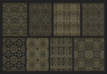 Collection Indian Seamless Pattern With Paisley, Mandala And Floral Motif For Wallpaper Or Fabric