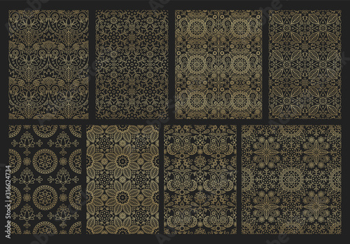 Obraz Collection indian seamless pattern with paisley, mandala and floral motif for wallpaper or fabric - fototapety do salonu