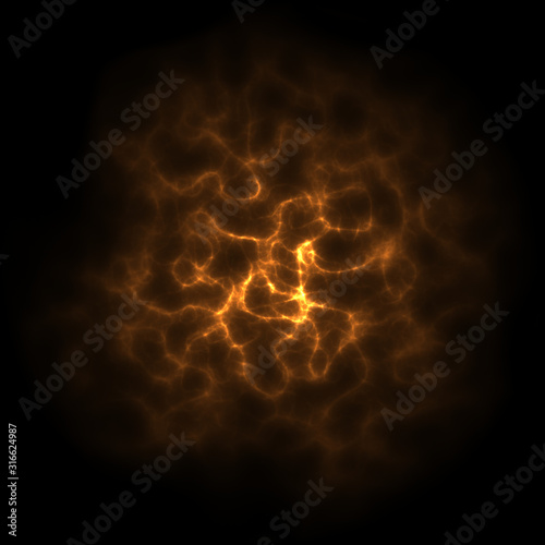 Fotomural glowing electric plasma clouds on black background