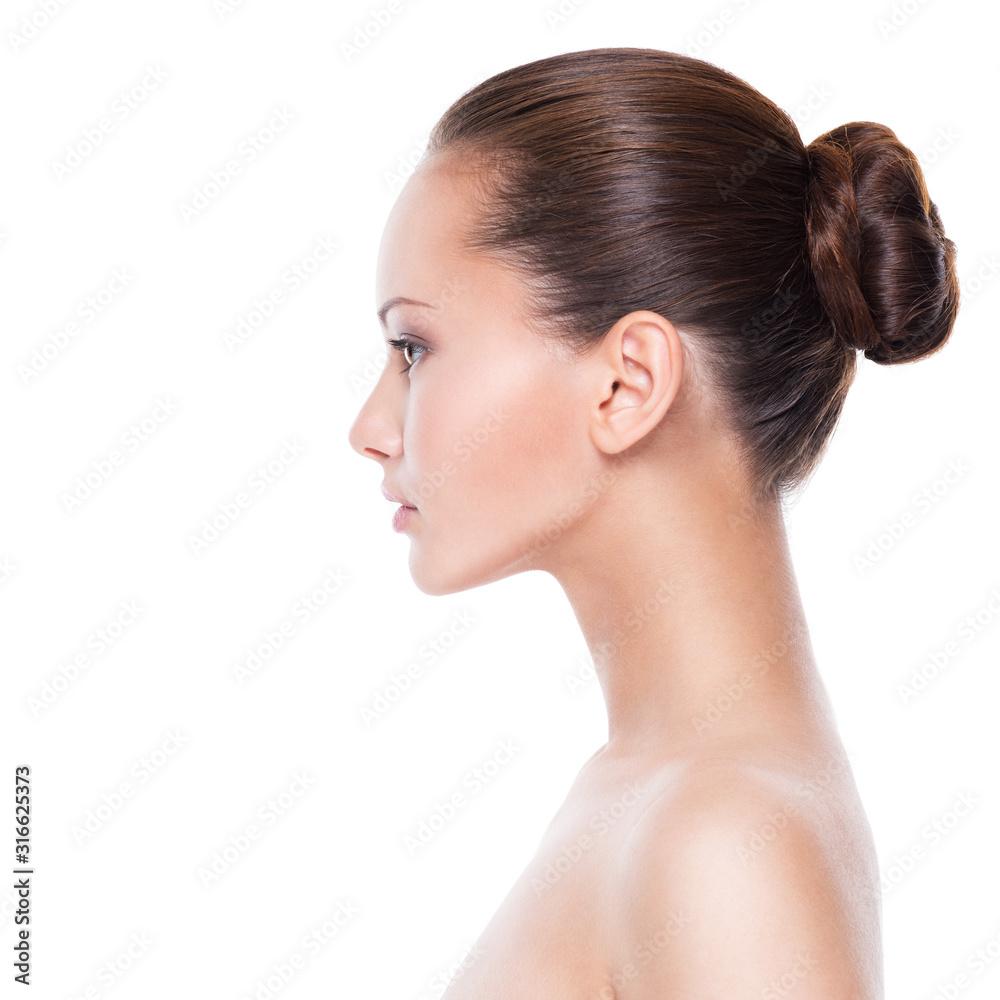 Fototapeta Profile face of  young  woman