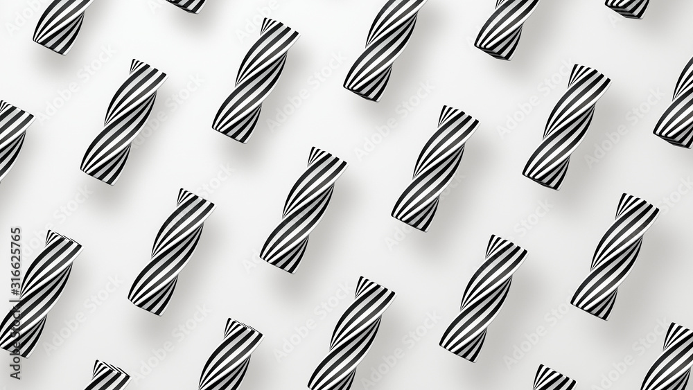 Fototapeta Twisted and striped shapes, white background. Abstract illustration, 3d rendering.