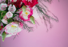Stylish Trendy Delicate Bouquet With A Variety Of Spring Flowers, Roses, Orchids In A Round Box On A Pink Background. Copy Space