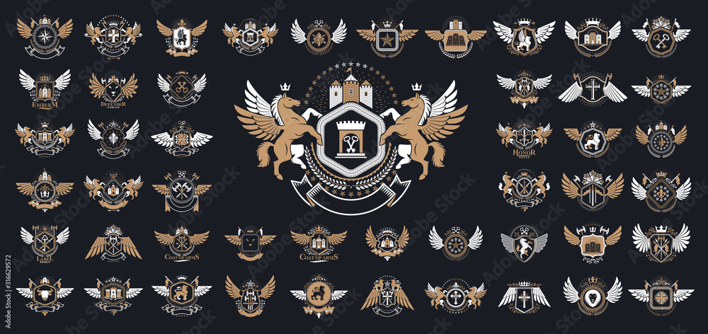 Fototapeta Heraldic Coat of Arms vector big set, vintage antique heraldic badges and awards collection, symbols in classic style design elements, family or business logos.