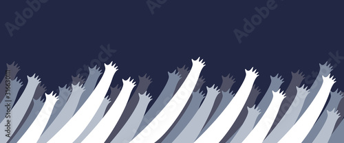 Photo A lot of hands up crowd vector minimal design illustration, fan zone, prayers or beggars, poverty