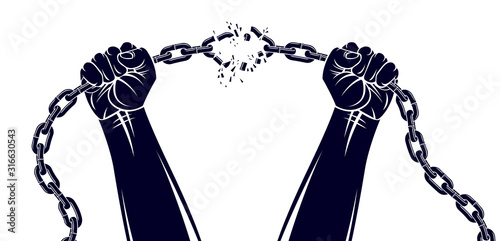 Fotografija Strong hand clenched fist fighting for freedom against chain slavery theme illustration, vector logo or tattoo, getting free, struggle for liberty
