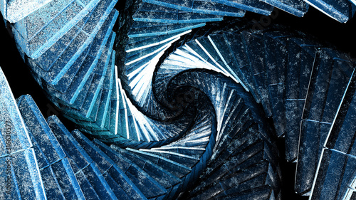 Amazing blue architecture staircase vortex displaying a trippy dmt drug alien entity vortex concept