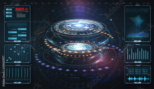 HUD,UI, GUI . Abstract virtual graphic touch user interface. Vector science abstract. Futuristic user interface with digital infographics and data charts vector electronic scifi hologram concept.