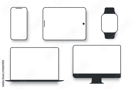 Obraz White desktop computer display screen smartphone tablet portable notebook or laptop. Gadgets display to present visual information.  Vector flat style cartoon illustration isolated on white background - fototapety do salonu