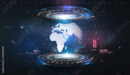Fototapeta Hologram earth for concept design. Blue futuristic background with planet Earth.  Abstract tech design background. Virtual graphic.Abstract modern background. Science/technology background. HUD/UI/GUI obraz