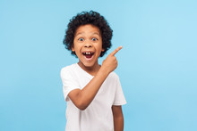 Wow Look, Advertise Here! Portrait Of Amazed Cute Little Boy With Curly Hair Pointing To Empty Place On Background, Surprised Preschooler Showing Copy Space For Promotional Ad. Indoor Studio Shot