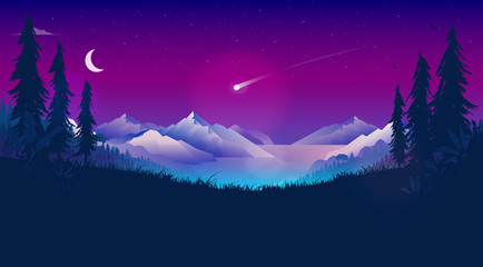 Shooting star in night sky. Bright comet falling through atmosphere. Cold night in beautiful landscape with stars, moon, mountains, ocean and forest. Meteorite, astrology, good luck, concept.