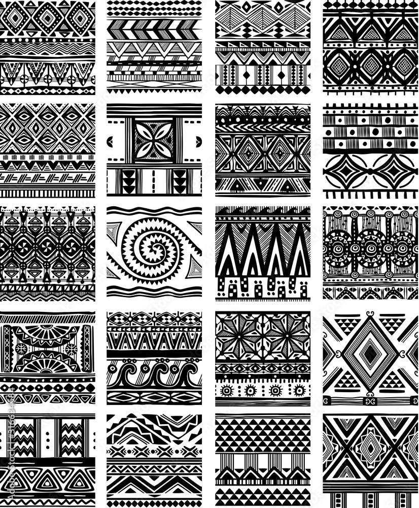 Fototapeta Set of seamless ethnic tribal pattern