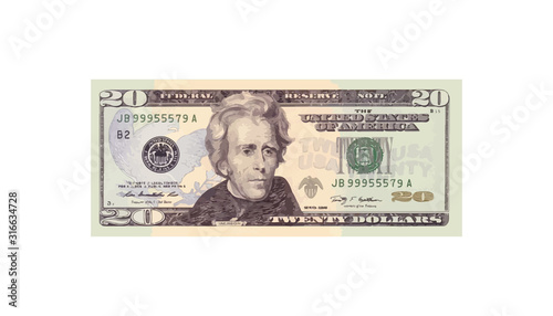 20 Dollars money realistic paper banknotes of USA - vector business art illustra Canvas Print
