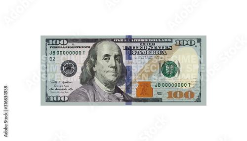 Tela 100 Dollars money realistic paper banknotes of USA - vector business art illustr