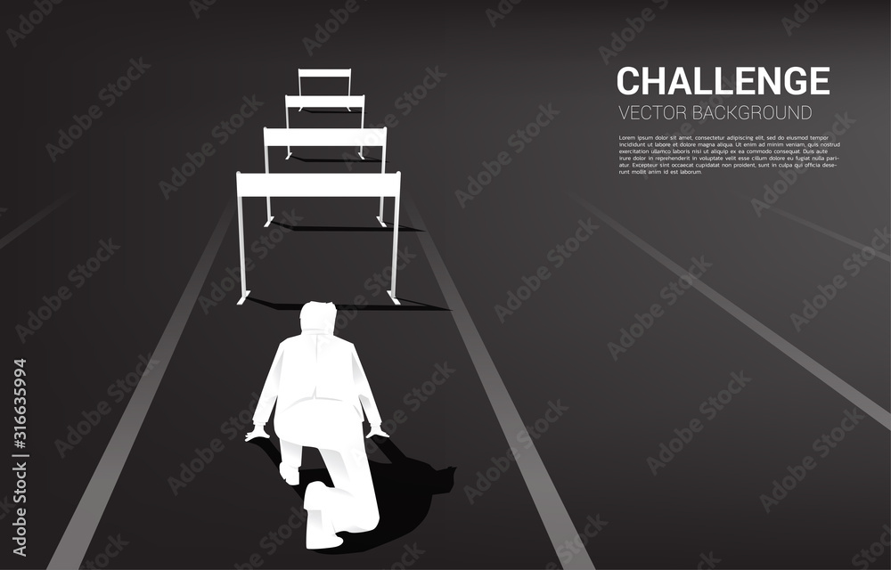 Fototapeta Silhouette businessman ready to run across hurdles obstacle. Background concept for Obstacle and challenge in business