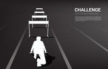 Silhouette Businessman Ready To Run Across Hurdles Obstacle. Background Concept For Obstacle And Challenge In Business