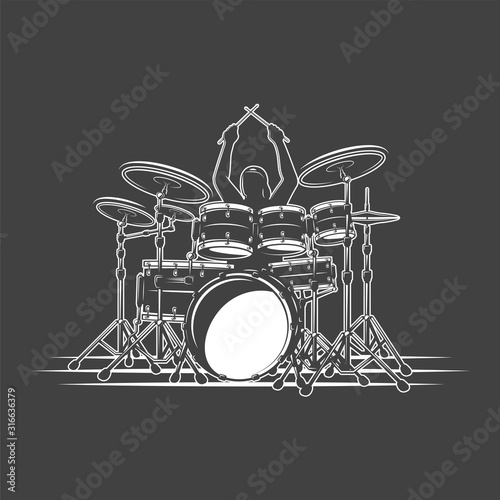 Canvas Print Drummer plays percussion instruments