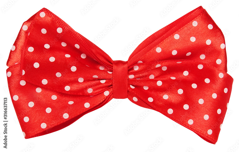 Fototapeta Red dotted bow tie for decoration hair or gift wrap