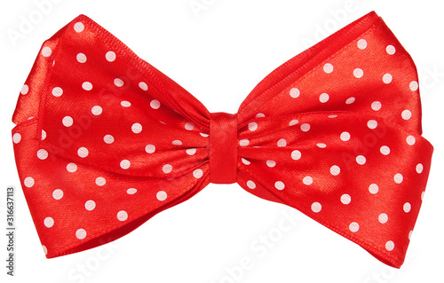 Obraz na płótnie Red dotted bow tie for decoration hair or gift wrap