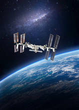 International Space Station. ISS On Orbit Of The Earth Planet. Elements Of This Image Furnished By NASA