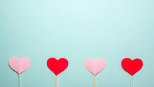 Red And Pink Paper Hearts On W...