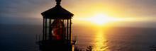This Is The Cape Meares Lighthouse At Sunset. It Was Built In 1890. This Shows The Very Top Light Inside The Lighthouse With Its Red Lamp In The Center.