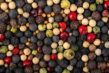 Closeup Of Mixed Pepper Backgr...