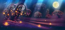 Magic Night Landscape With Fan...