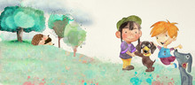I Love My Pets. Watercolor Background For Children.