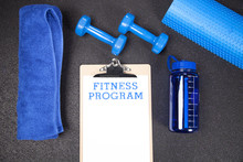 Fitness Program Knolling With Copy Space At Gym
