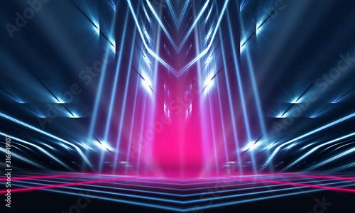 Fototapeta Empty dark abstract background. Background of empty show scene. Glow of neon lights on an empty concert stage. obraz na płótnie