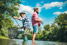 Mature Man With Friend Fishing...