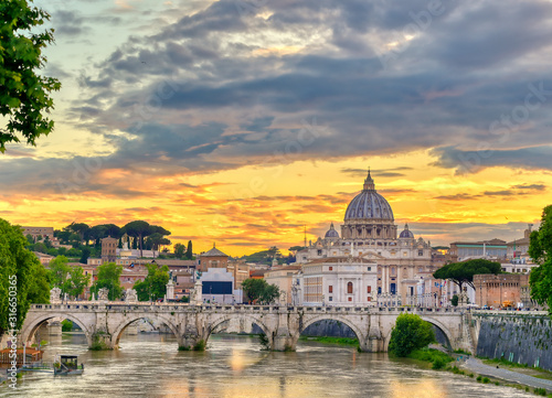 A view along the Tiber River towards St Canvas Print