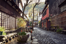 Cobblestone Paved Alley In Jap...