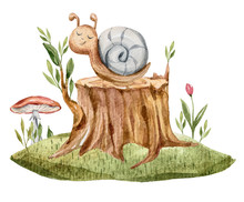 Watercolor Hand Painted Cute Cartoon Grey Snail On A Stump. Lovely Fantasy Illustration On White Isolated Background. Perfect For Baby Print, Kids Room Decor, Pattern, Book, Sticker