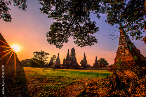 Background of Wat Chai Watthanaram in Phra Nakhon Si Ayutthaya province, tourists are always fond of taking pictures and making merit during holidays in Thailand Canvas Print