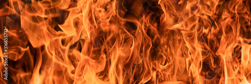 panorama background of hot fire flame Tablou Canvas