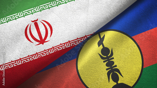 Iran and New Caledonia two flags textile cloth, fabric texture Fototapet