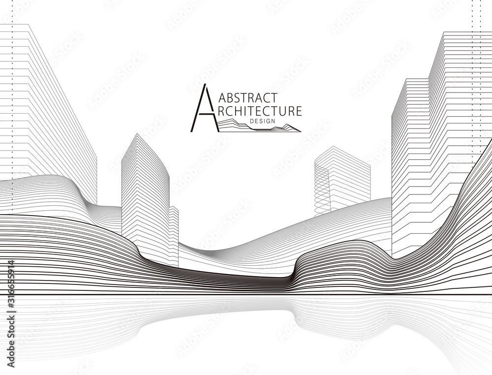 Fototapeta Architecture building construction perspective design, abstract modern urban landscape line drawing.
