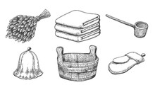 Vintage Sketch Sauna Items
