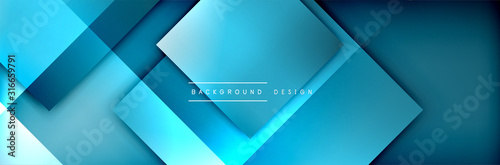 Obraz Square shapes composition geometric abstract background. 3D shadow effects and fluid gradients. Modern overlapping forms - fototapety do salonu